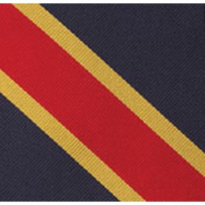 Red & Yellow/Gold on Navy Blue Trad Special Stripe Silk Pocket Square #RSP-2