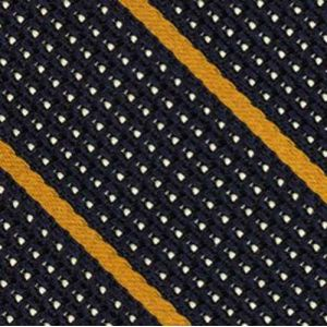 Yellow Gold & Off White On Midnight Blue Grenadine Fina Stripe Silk Pocket Square #2