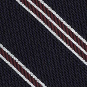 Dark Red & White On Midnight Blue Grenadine Fina Stripe Silk Pocket Square #4