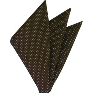 Off-White On Chocolate Printed Pin Dot Silk Pocket Square #MCPDP-11