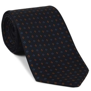 Burnt Orange & Sky blue on Midnight Blue Macclesfield Printed Silk Tie #91