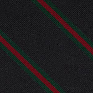 12th London Regiment Stripe Silk Bow Tie #RGBT-23 - Dark Forest Green & Red on Black