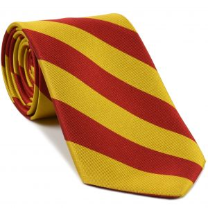 Red & Yellow Gold Stripe Silk Tie #RST-85