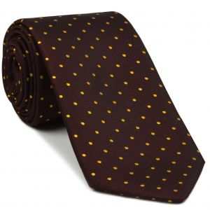 Yellow/Gold Dots on Burgundy Pin-Dot Silk Tie #8