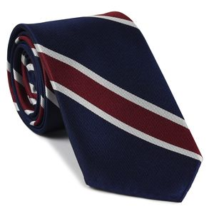 Navy Blue, Burgundy & White Reppe Stripe Silk Tie #3 (Trad Special #3)
