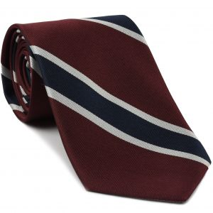Burgundy, Navy Blue & White Reppe Stripe Silk Tie #1 (Trad Special #1)