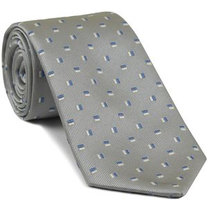 Blue & White on Silver Gray English Geometric Silk Tie #17