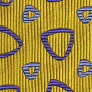 Medium Blue & Light Blue on Yellow English Geometric Silk Tie #16