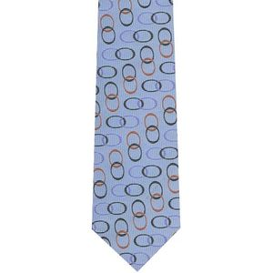 Black & Brown ovals on Light Blue with Blue English Geometric Silk Tie #5