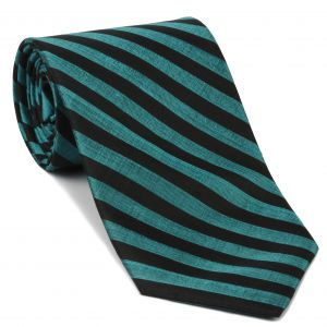 Ocean Blue & Black Thai Stripe Silk Tie #26