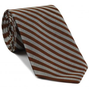 Chocolate & Silver Thai Stripe Silk Tie #20