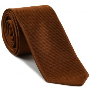 Dark Burnt Orange Reppe Solid Silk Tie #24
