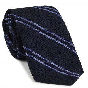 Lavender Stripe On Midnight Blue Grenadine Tie #6
