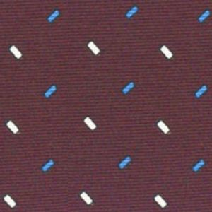 Off-White & Blue on Burgundy Macclesfield Printed Silk Tie #122