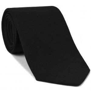 Macclesfield Black Challis Solid Wool Tie #1