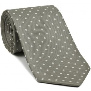 White on Silver Brown Macclesfield Printed Silk Tie #MCT-142