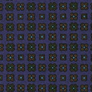 Brown, Forest Green, Sky Blue & black on Navy Blue Macclesfield Printed Silk Tie #MCT-82
