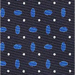 Blue & White on Midnight Blue Macclesfield Printed Silk Tie # 160
