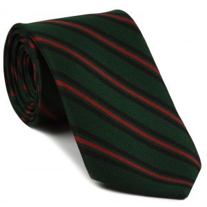 Gurkha Brigade Stripe Silk Tie # 24 - Red & Midnight Blue on Dark Forest Green