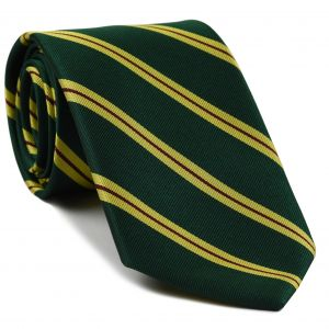 Malaya Regiment Stripe Silk Tie # 32 - Dark Red & Corn Yellow on Forest Green