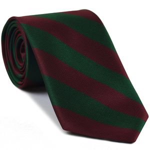 5th Dragoon Guards Stripe Silk Tie #41 - Burgundy & Dark Forest Green