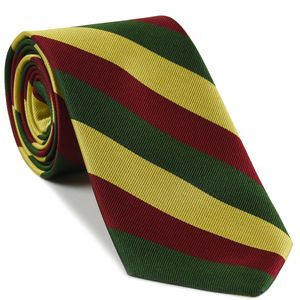 6th Inniskilling Dragoons Stripe Silk Tie # 44 - Yellow, Dark Red & Forest Green