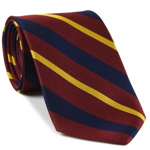 1st King Dragoon Guards Stripe Silk Tie #7 - Yellow, Dark Red on Navy Blue