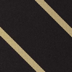 Brasenose College Oxford Stripe Silk Tie #UKU-4  - Light Gold on Black