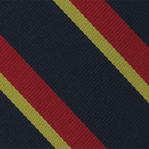Lothian and Border Horse Stripe Silk Tie # 13 - Corn Yellow & Red on Dark Navy Blue
