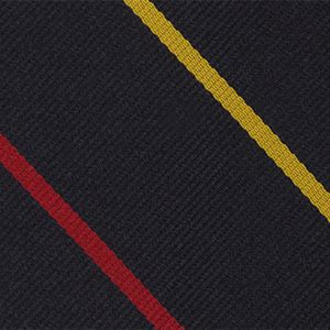 RAMC Stripe Silk Tie # 14 - Corn Yellow & Red on Dark Navy Blue