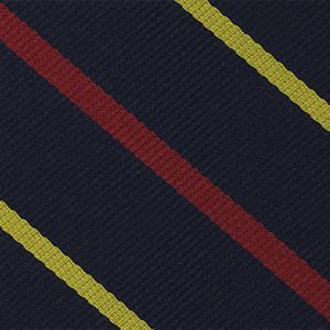2nd Bombay Pioneers Stripe Silk Tie # 15 - Corn Yellow & Red on Dark Navy Blue