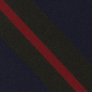 Royal Australian Artillery Strip Silk Tie # 22 - Dark Red & Black on Dark Navy Blue
