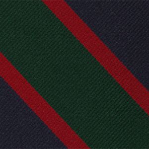 Royal Irish Fusiliers Stripe Silk Tie # 25 - Red & Dark Forest Green on Dark Navy Blue