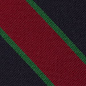 Royal Dublin Fusiliers Stripe Silk Tie # 26 - Bottle Green & Dark Red on Dark Navy Blue