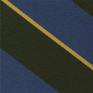 Burma Rifles Stripe Silk Tie # 33 - Corn Yellow & Sky Blue on Olive Green