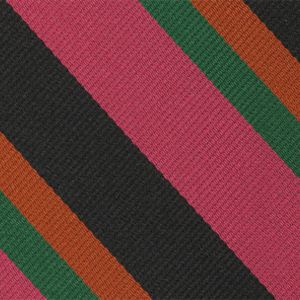 6th Battlion East Surry Stripe Silk Tie # 37 - Burnt, Bottle Green & Black on Dark Pink