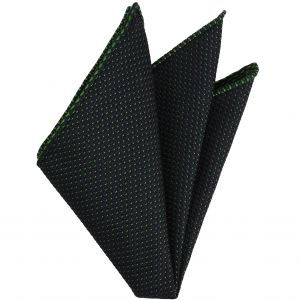 Bottle Green on Midnight Blue Grenadine Pin Dot Silk Pocket Square #5