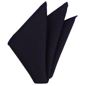 Purple on Midnight Blue Grenadine Pin Dot Silk Pocket Square #7