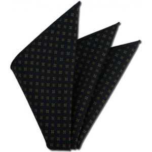 Midnight Blue Pattern Challis Wool Pocket Square # 1