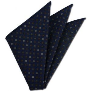 Navy Pattern Challis Wool Pocket Square # 2