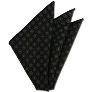 Midnight Blue Pattern Challis Wool Pocket Square #CHPP-4
