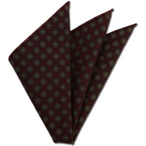 Dark Red Pattern Challis Wool Pocket Square #CHPP-5