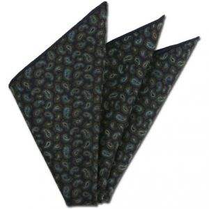 Midnight Blue Paisley Pattern Challis Wool Pocket Squares #CHPP-7