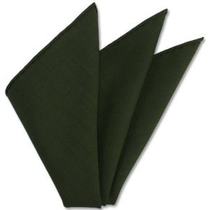 Forest Green Solid Challis Wool Pocket Square # 7