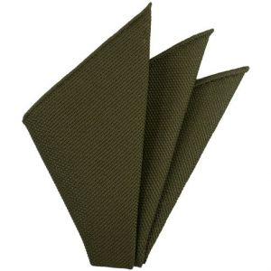 Olive Green Piccola Grenadine Silk Pocket Squares # 12