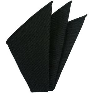 Carbon Black Piccola Grenadine Silk Pocket Squares # 6