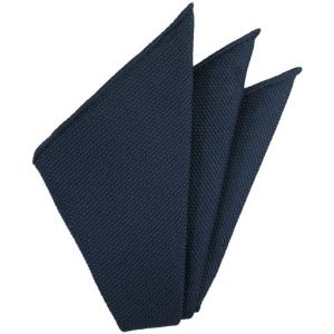 Navy Blue Piccola Grenadine Silk Pocket Squares # 8