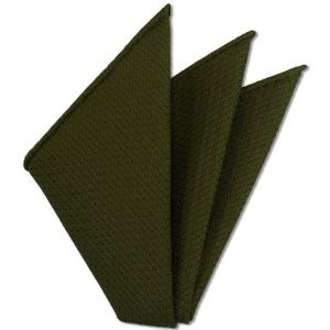 Olive Green Prometeo Grenadine Silk Pocket Square # 10