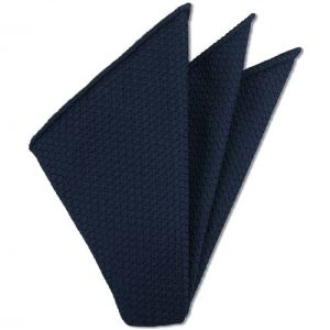 Navy Blue Prometeo Grenadine Silk Pocket Square # 7