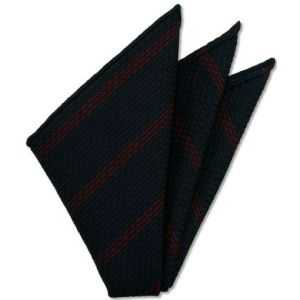 Red Stripe On Midnight Blue Grenadine Grossa Pocket Square # 1
